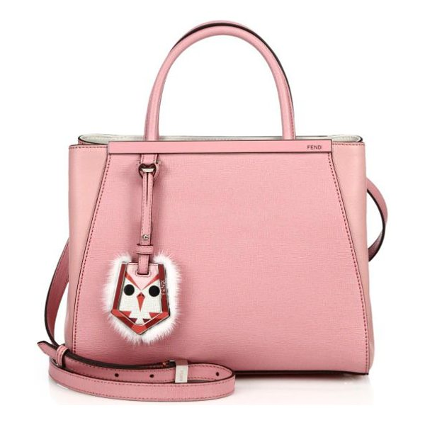 Fendi 2jours petite fur-trimmed shopper in pink - A timeless petite style masterfully crafted of Italian...