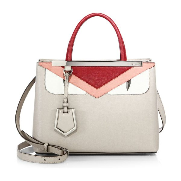 Fendi 2jours small monster face satchel in powder-red - Classic satchel with colorblock monster design. Top...