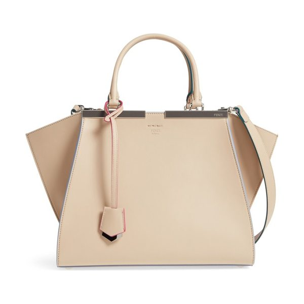 Fendi 3jours leather shopper in beige - Hand-painted color-pop edges and meticulous stitching...