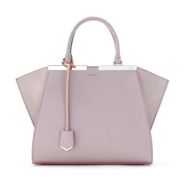 Fendi 3Jours Leather Tote Bag in beige/pink - Fendi satchel bag in soft calf leather. Rolled tote...