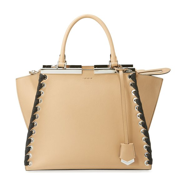 Fendi 3Jours Medium Tote Bag with Ribbon Whipstitching in brown/blue - Fendi tote bag in calf leather with ribbon whipstitched...