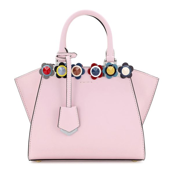 Fendi 3Jours Mini Floral-Stud Tote Bag in soft pink multi - Fendi calf leather tote bag with floral ABS studs....