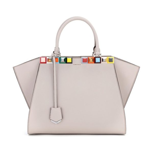 Fendi 3jours studded calfskin leather shopper in powder grey - Color-pop pyramid studs trace the topline of an iconic...