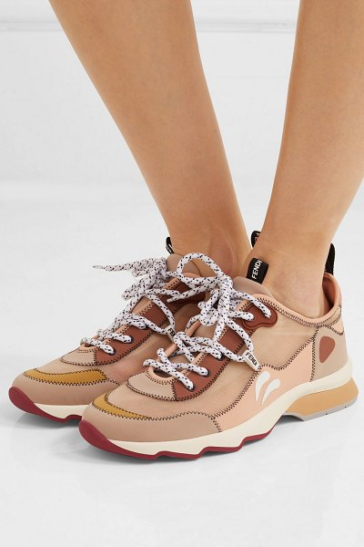 Fendi appliquéd neoprene and mesh sneakers in neutral - Fendi's low-top sneakers combine technical mesh and...