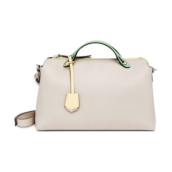 Fendi By the way large multicolor satchel in greypowder - Multicolor trimmings lend a subtle visual pop to this...