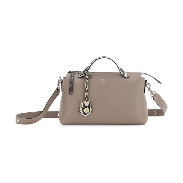 "Fendi By the Way Small Leather & Snakeskin Satchel Bag in taupe - Fendi calfskin ""By the Way"" satchel with silvertone..."