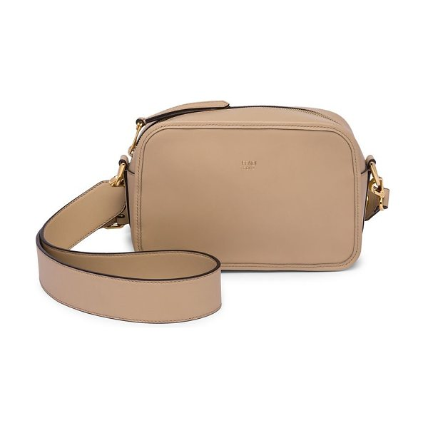 Fendi camera leather crossbody bag in beige - Leather crossbody bag accented with polished logo....