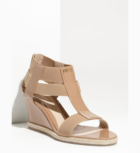 Fendi carioca wedge sandal in nude - Shiny patent leather mixes with matte elastic straps in...