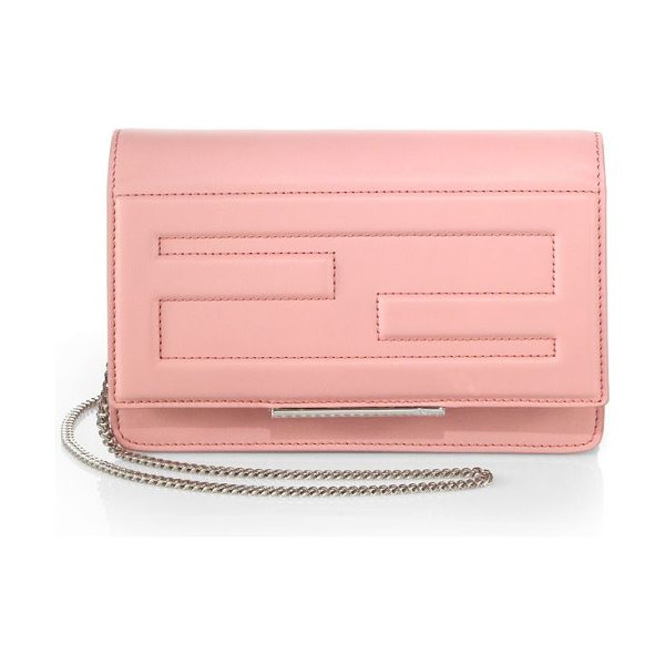 FENDI Chain shoulder bag in pink - A sleek silhouette crafted from logo-stitched leather...
