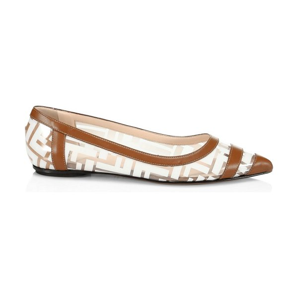 Fendi leather-trimmed transparent flats in brown