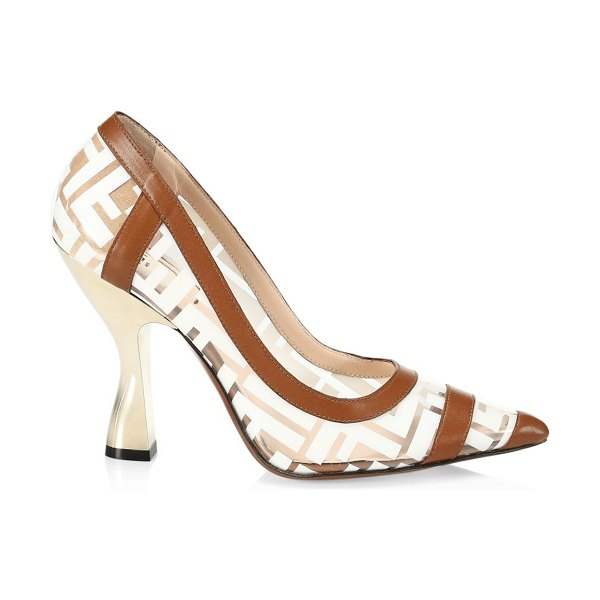 Fendi leather-trimmed transparent pumps in tan