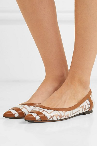 Fendi colibri leather-trimmed logo-print pvc point-toe flats in tan