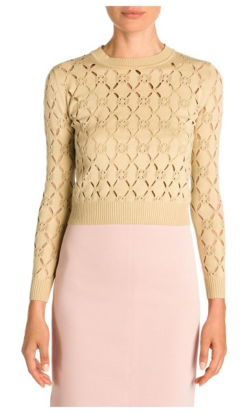 Fendi cutout knit pullover in beige cuba - Chic sweater with cropped proportions and an allover...