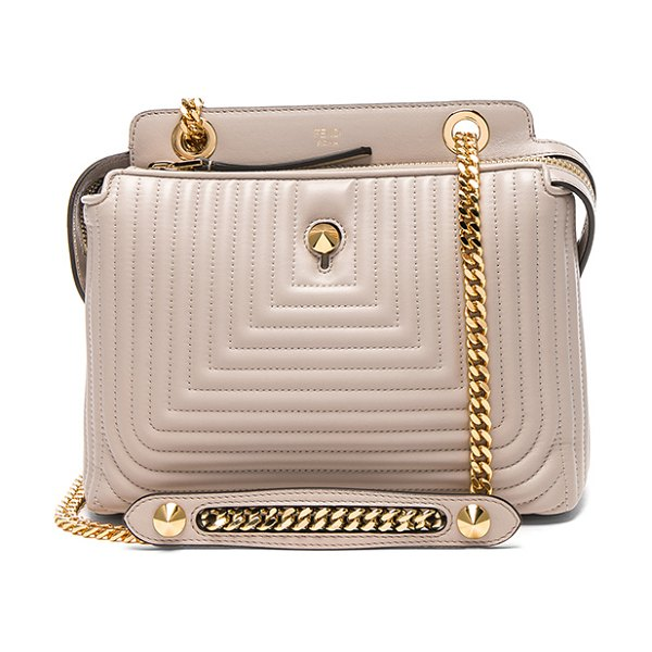 "Fendi Dot Com Click in neutrals,gray - ""Quilted nappa leather with suede lining and gold-tone..."