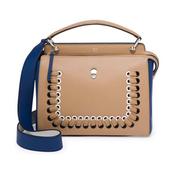 FENDI dotcom click whipstitched leather satchel - Square two-tone leather shape with whipstitched trim....