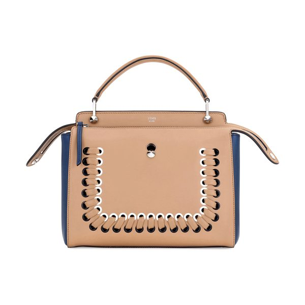 Fendi Dotcom Medium Colorblock Whipstitch Satchel Bag in brown - Fendi colorblock calfskin and lambskin satchel bag....