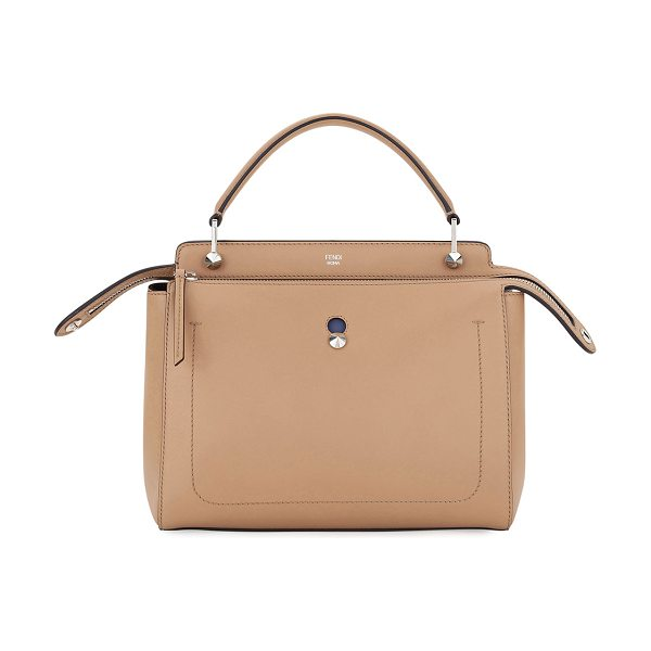 Fendi Dotcom Medium Leather Satchel Bag in tan/blue - Fendi two-tone calf leather satchel bag. Flat top...