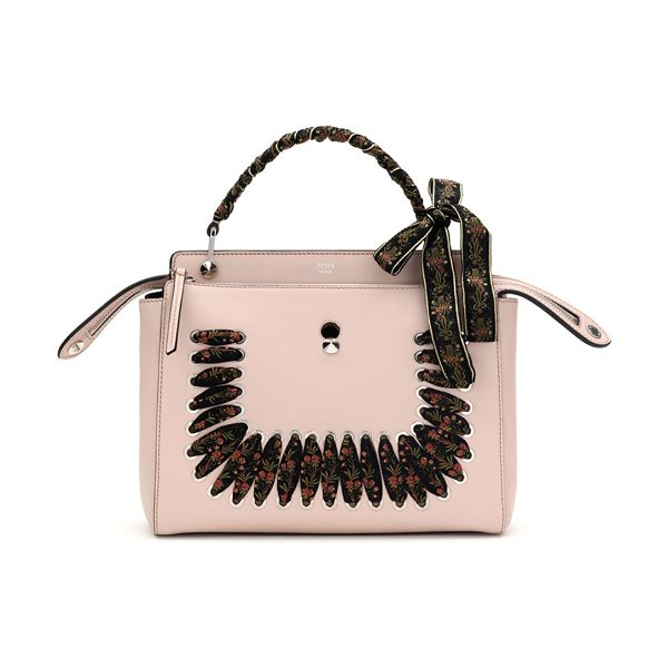 Fendi dot.com ribbon-laced leather top handle bag in pink - Boxy leather shape with laced floral ribbon detail....