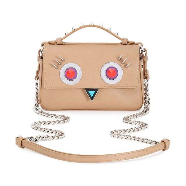 FENDI Double Baguette Micro Faces Leather Shoulder Bag - Fendi calf leather shoulder bag with studded face motif....