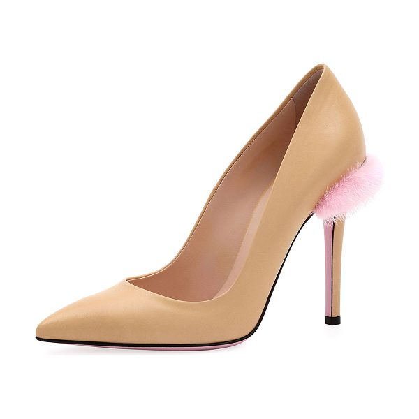 Fendi Duo 95mm Pumps with Fur Trim in beige - Fendi smooth leather pump with dyed mink (Denmark) fur...