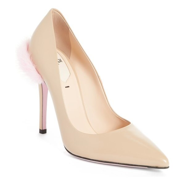 Fendi duo pointy toe pump with genuine mink trim in nude - A plush puff of genuine mink fur adds luxe softness to...