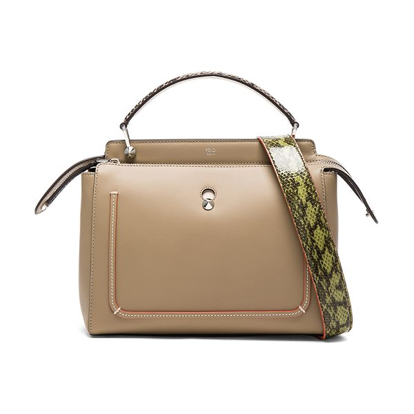 Fendi Elaphe Handle Bag in dove & taupe - Calfskin leather with suede lining and silver-tone...