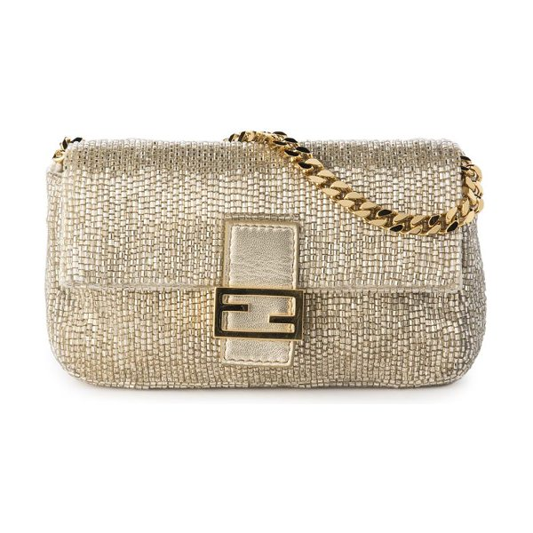 Fendi embroidered beaded micro baguette in champagne - Polished beaded embroidery textures baguette. Chain...