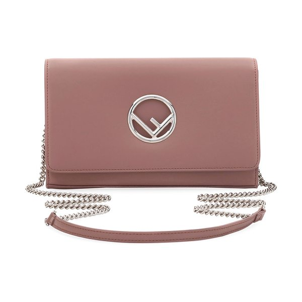 Fendi F Seal Leather Wallet on a Chain in light pink - Fendi napa leather wallet on a chain. Removable...