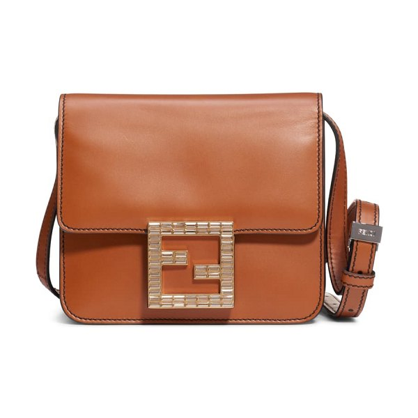 Fendi fab leather crossbody bag in brown