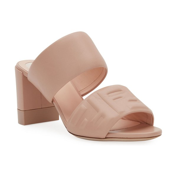 Fendi FF Leather Two-Band Slide Sandals in beige