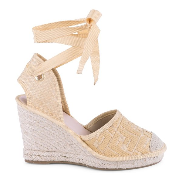 Fendi ff logo ankle-wrap espadrille wedge sandals in natural