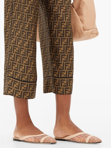 Fendi ff logo backless mesh loafers in nude