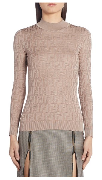 Fendi ff logo cotton blend sweater in beige