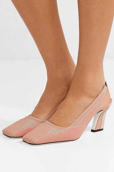 Fendi ffreedom logo-print neoprene slingback pumps in antique rose - So many of the outfits seen on Fendi's Spring '19 runway...