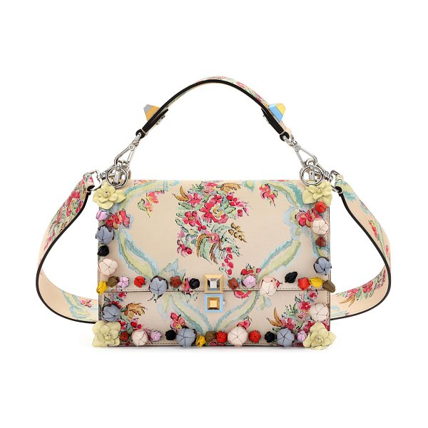 Fendi Kan I Aubusson-Print Leather Shoulder Bag in cream - Fendi aubusson-print leather shoulder bag with floral...