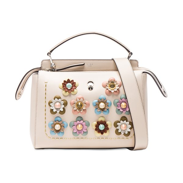 Fendi Flower Embellished Dotcom Bag in camelia & multicolor - Calfskin leather with suede lining and silver-tone...