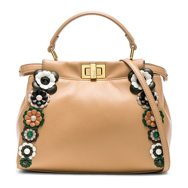FENDI Flower Embellished Mini Peekaboo in pall pink & multi - Nappa leather with leather lining and gold-tone...