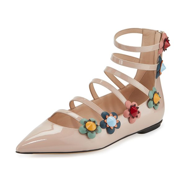 FENDI Flowerland Strappy Skimmer Flat - Fendi patent leather skimmer flat. Floral appliqu with...