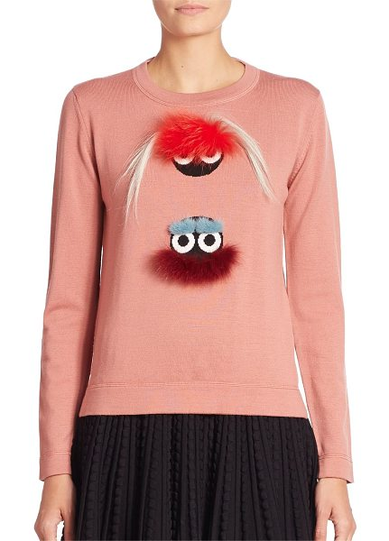 Fendi Fur monster wool sweater in pink - Plush fur monsters add signature charm to knit sweater....