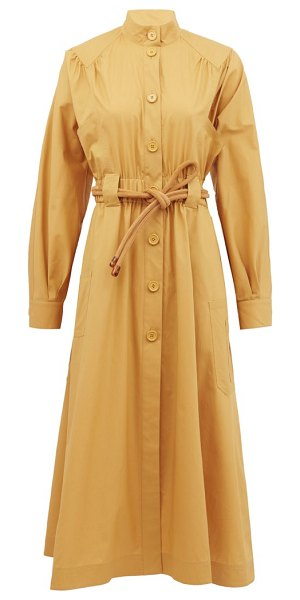 Fendi gathered cotton-poplin shirt dress in beige