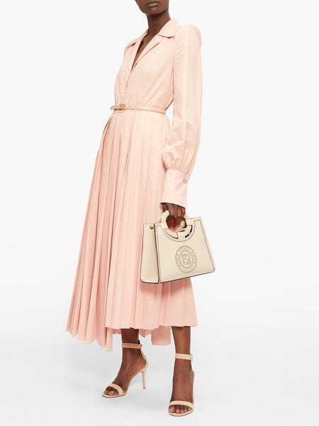 Fendi gloria belted cotton-poplin shirt dress in pink