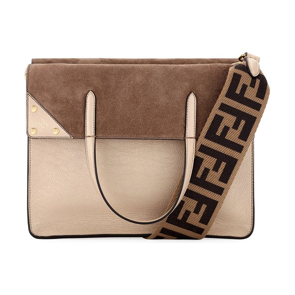 Fendi Grace Calf Matte Flip Tote Bag in brown