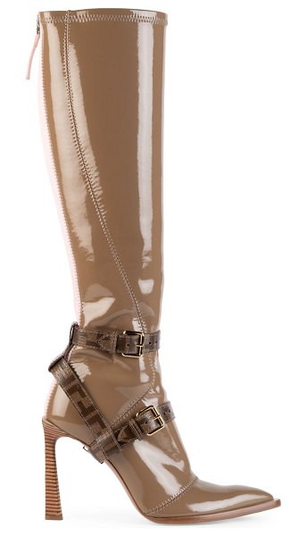 Fendi harness buckle patent neoprene tall boots in brown