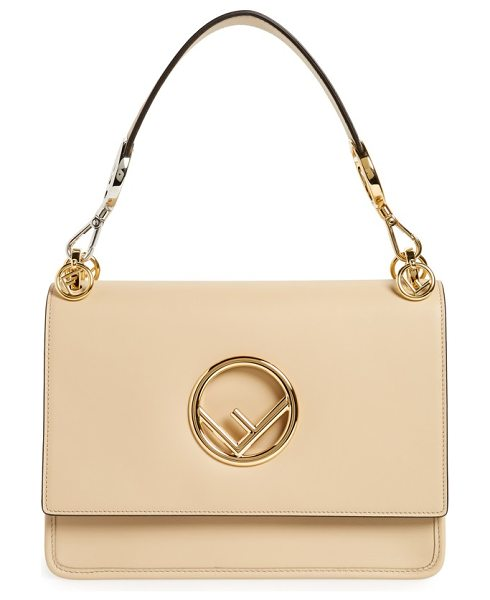 Fendi kan i calfskin leather shoulder bag in beige