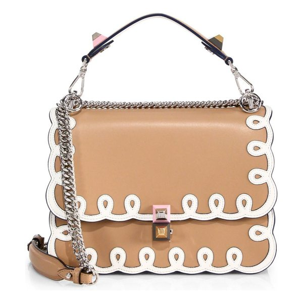 Fendi kan i leather chain shoulder bag in tan - Structured leather flap style trimmed with scrollwork....
