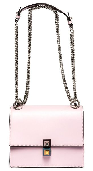 FENDI kan i leather crossbody bag in pink - Polished leather crossbody with geo stud clasp. Chain...