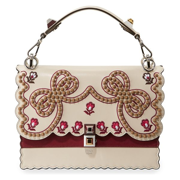 f8707ffc0c Fendi Kan I Medium Bow Embroidered Shoulder Bag | Nudevotion