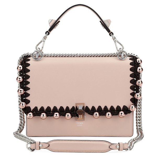 FENDI Kan I Medium Liberty Calf Shoulder Bag in light pink - Fendi leather shoulder bag with whipstitching and...