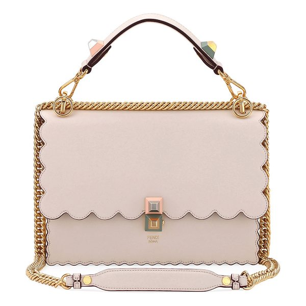 Fendi Kan I Regular Leather Scalloped Shoulder Bag in light beige - Fendi leather shoulder bag with scalloped edges....