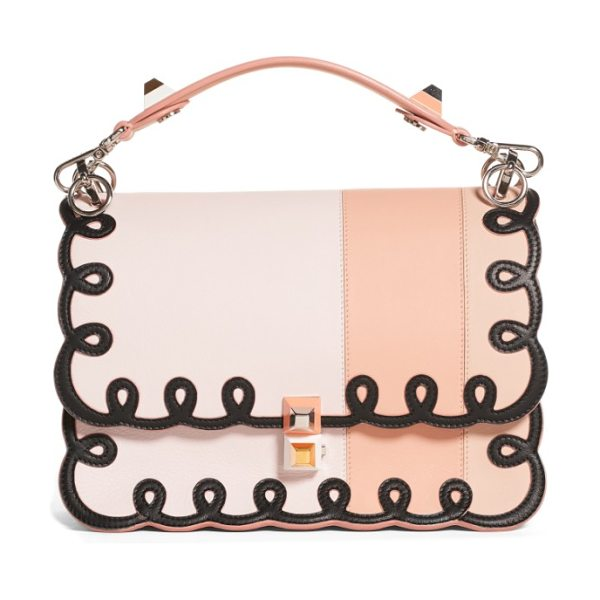 FENDI kan i scalloped stripe leather shoulder bag - Mixed-finish pyramid studs juxtapose the whimsical,...